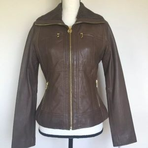 MICHAEL KORS 100% BROWN LEATHER JACKET SIZE S